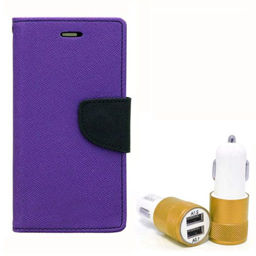 Wallet Flip Case Back Cover For Samsung ON7 - (Purple) + Dual ports USB car Charger by Style Crome Store.