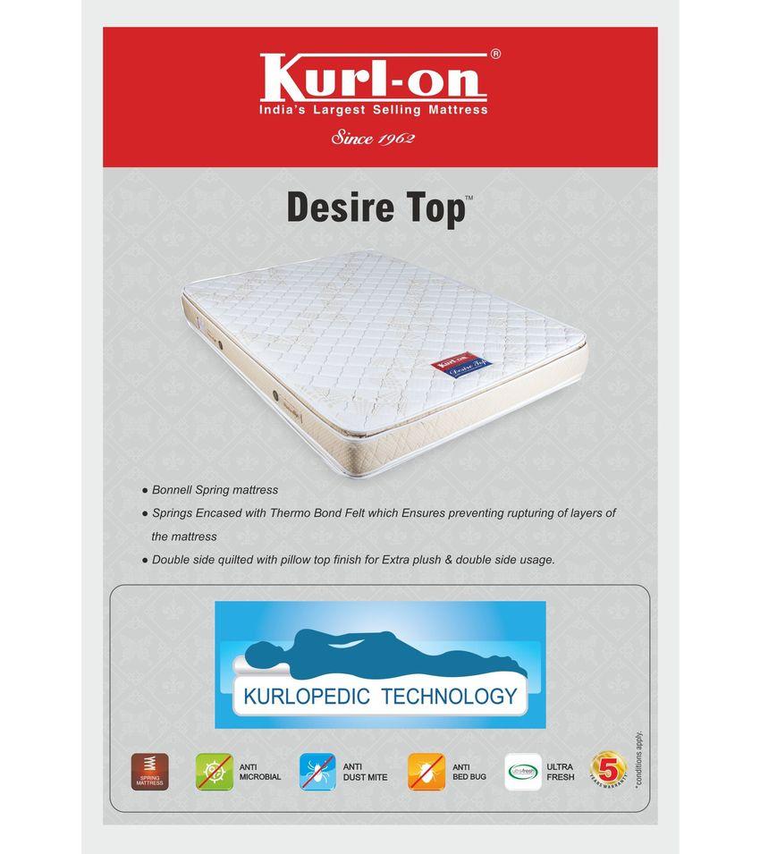 kurl on desire pillow top 6 inch queen size spring mattress 75x60x6