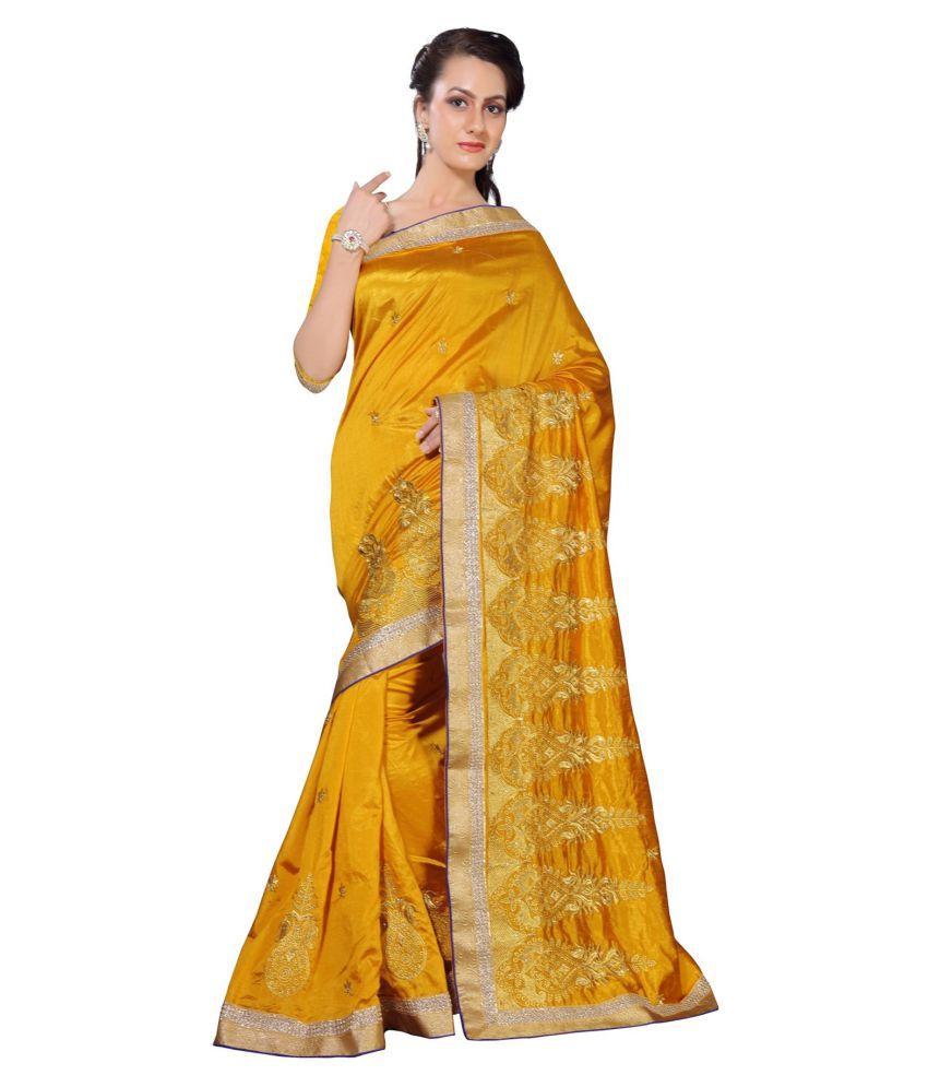 Oomph! Yellow Art Silk Saree