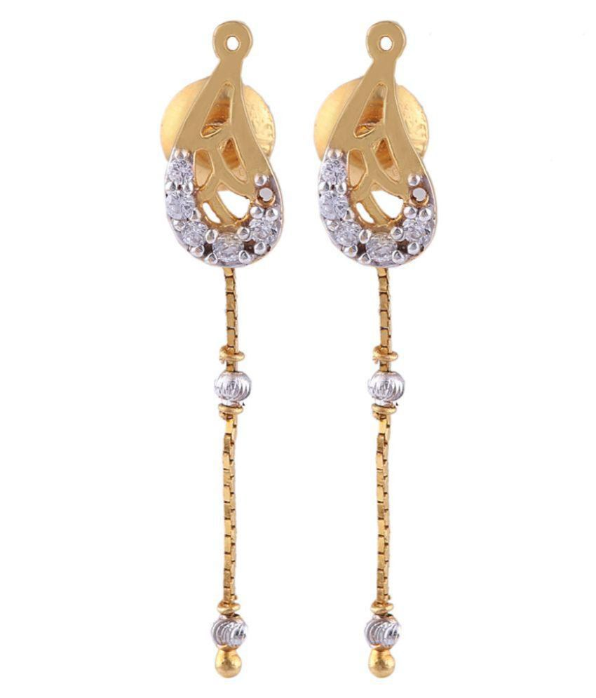 Khanna Jewellers 22k BIS Hallmarked Gold Zircon Hangings