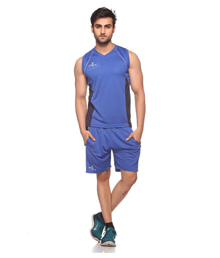 Sport Sun Sportswear Blue Cutssleeves Volleyball Set