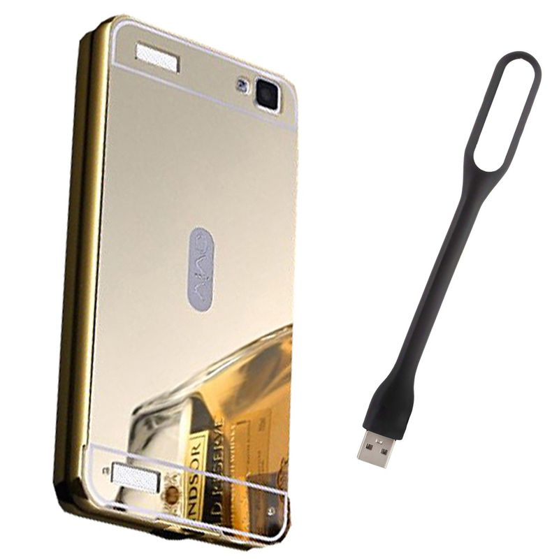 Mirror Back Cover For Vivo Y37 + Usb Light free by Style Crome.