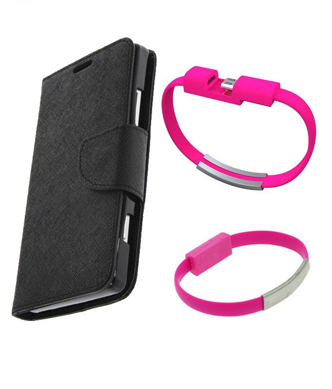Wallet Flip Case Back Cover For Samsung 9300-(Black)+USB Bracelet Cable Charging for all smart phones by Style Crome.
