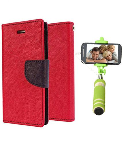 Wallet Flip Case Back Cover For Sony Expria M2 -(Red)+Mini Selfie Stick Compatible for all MobilesBy Style Crome Store