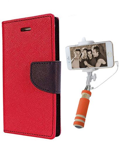 Wallet Flip Case Back Cover For HTC516 -(Red)+Mini Selfie Stick Compatible for all MobilesBy Style Crome Store