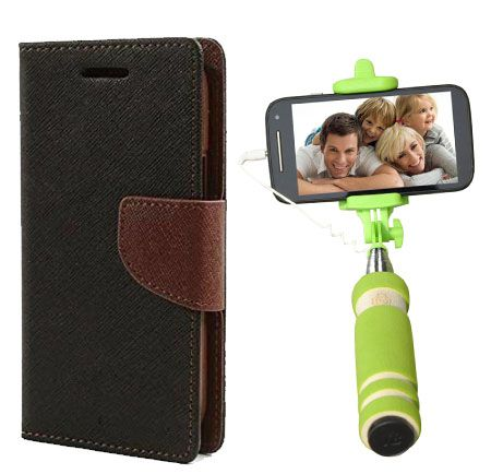 Wallet Flip Case Back Cover For Nokia 535-(Blackbrown)+Mini Selfie Stick Compatible for all MobilesBy Style Crome Store