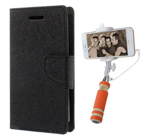 Wallet Flip Case Back Cover For Mircomax A102 -(Black)+Mini Selfie Stick Compatible for all MobilesBy Style Crome Store
