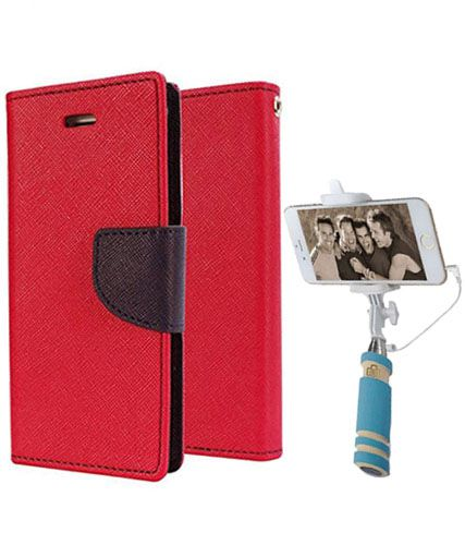 Wallet Flip Case Back Cover For Sony Expria M5 -(Red)+Mini Selfie Stick Compatible for all MobilesBy Style Crome Store