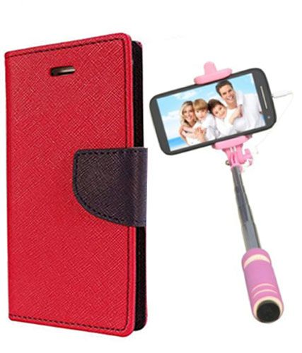 Wallet Flip Case Back Cover For Mircomax A102 -(Red)+Mini Selfie Stick Compatible for all MobilesBy Style Crome Store