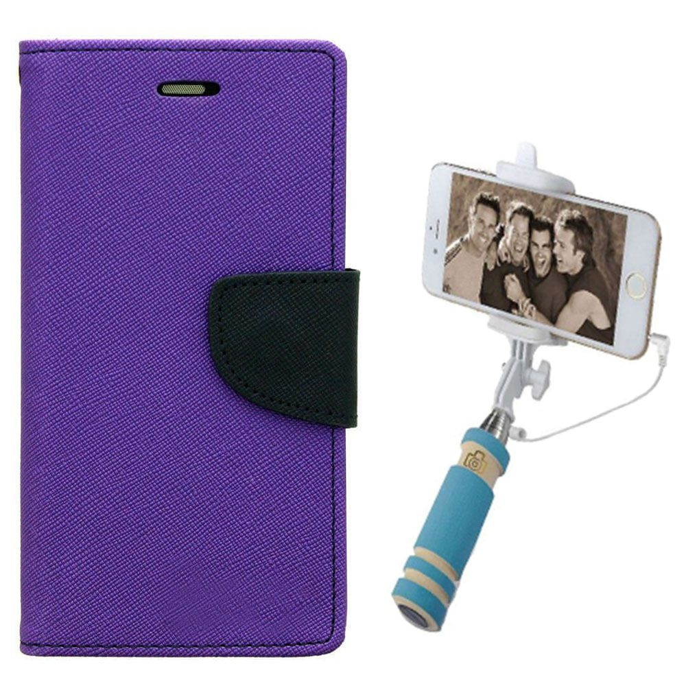 Wallet Flip Case Back Cover For One Plus Two-(Purple)+Mini Selfie Stick Compatible for all MobilesBy Style Crome Store