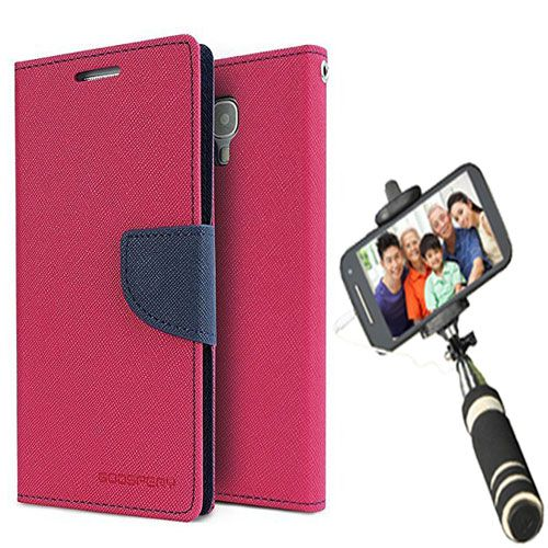Wallet Flip Case Back Cover For Mircomax A120-(Pink)+Mini Selfie Stick Compatible for all MobilesBy Style Crome Store