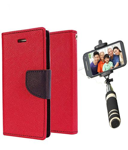 Wallet Flip Case Back Cover For Lenovo A7000 -(Red)+Mini Selfie Stick Compatible for all MobilesBy Style Crome Store