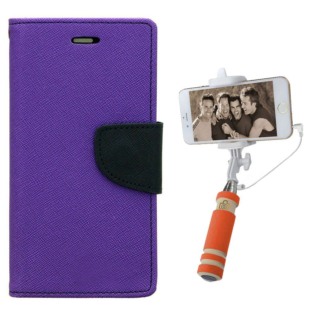 Wallet Flip Case Back Cover For Samsung A5-(Purple)+Mini Selfie Stick Compatible for all MobilesBy Style Crome Store