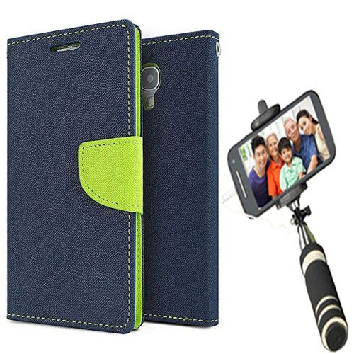Wallet Flip Case Back Cover For Redmi note 3-(Blue)+Mini Selfie Stick Compatible for all MobilesBy Style Crome Store