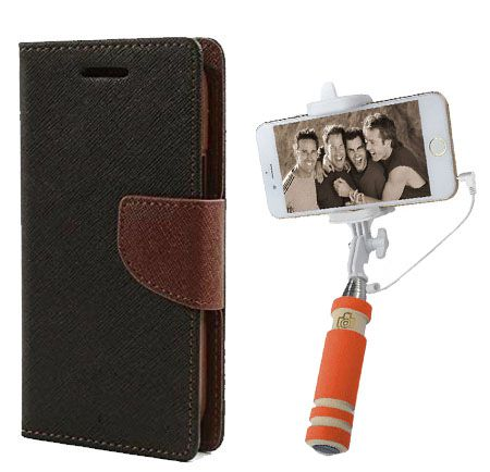 Wallet Flip Case Back Cover For HTC E9Plus-(Blackbrown)+Mini Selfie Stick Compatible for all MobilesBy Style Crome Store