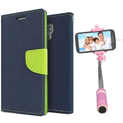 Wallet Flip Case Back Cover For Asus Zenfone 5-(Blue)+Mini Selfie Stick Compatible for all MobilesBy Style Crome Store