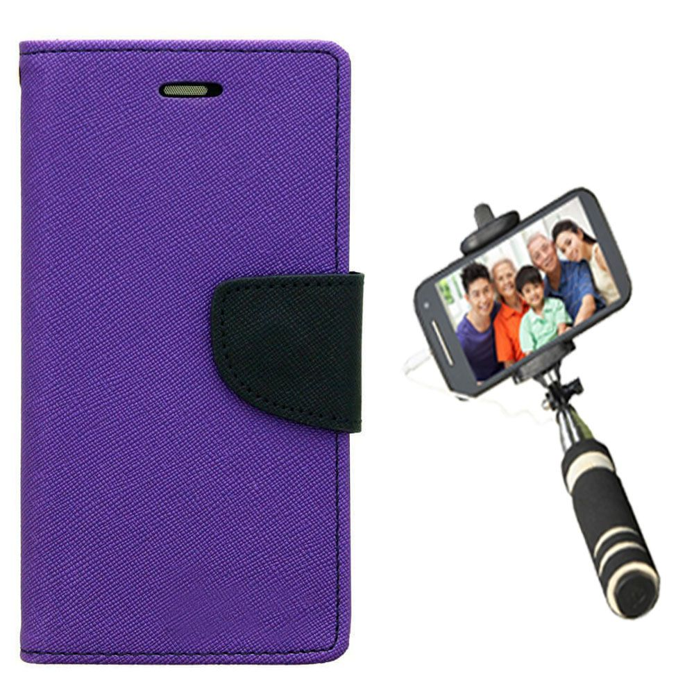 Wallet Flip Case Back Cover For Mircomax A110-(Purple)+Mini Selfie Stick Compatible for all MobilesBy Style Crome Store