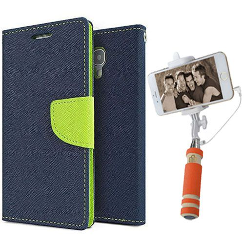 Wallet Flip Case Back Cover For Asus Zenfone 2-(Blue)+Mini Selfie Stick Compatible for all MobilesBy Style Crome Store