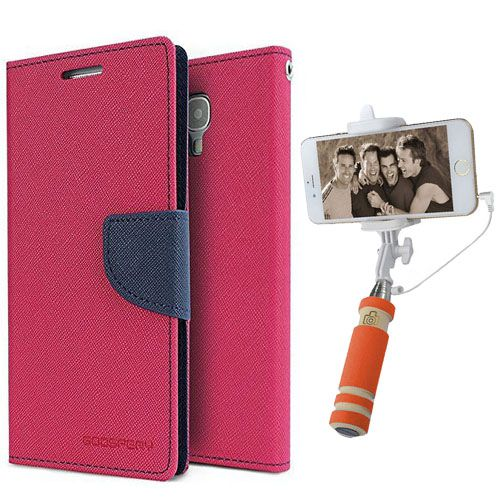Wallet Flip Case Back Cover For Nokia 535-(Pink)+Mini Selfie Stick Compatible for all MobilesBy Style Crome Store