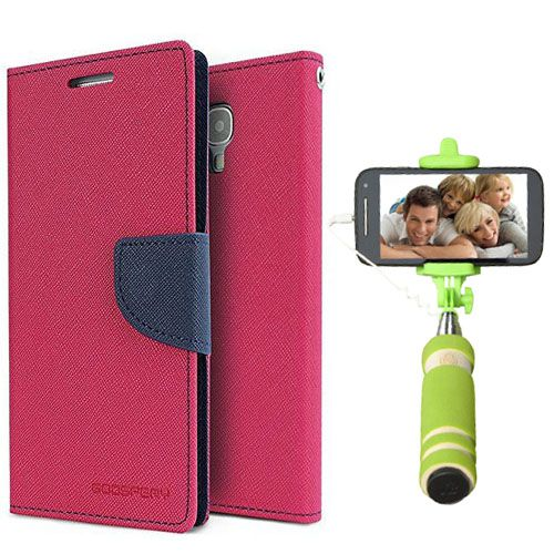 Wallet Flip Case Back Cover For Mircomax Yureka-(Pink)+Mini Selfie Stick Compatible for all MobilesBy Style Crome Store