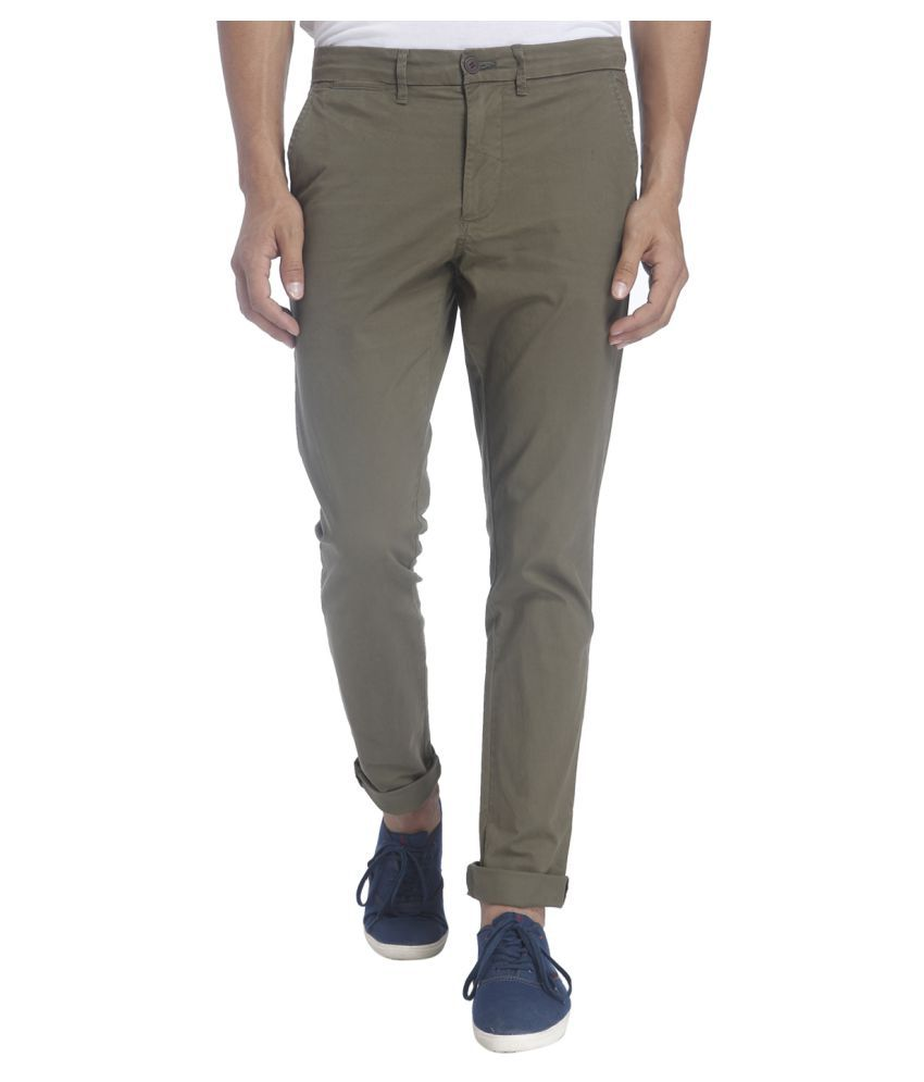 Jack & Jones Olive Green Slim Flat Trouser