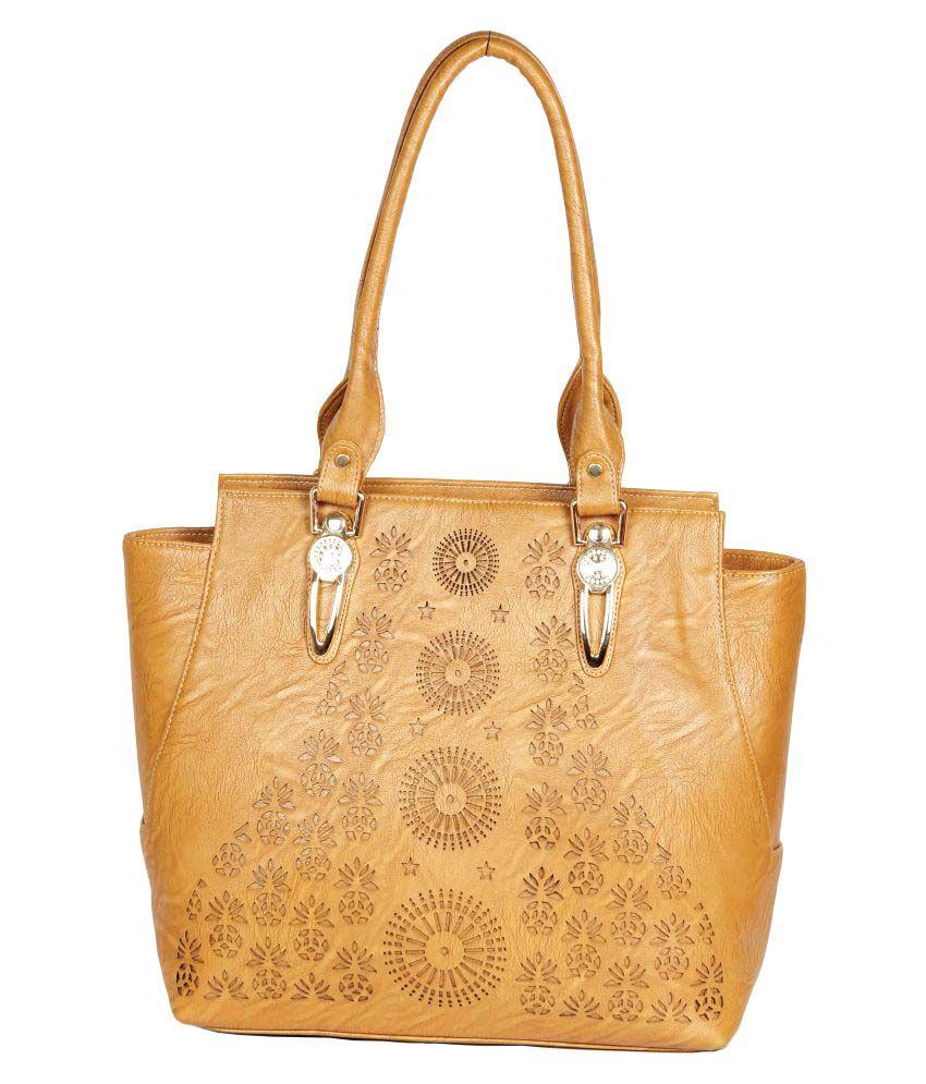 Clarzz Beige Artificial Leather Shoulder Bag