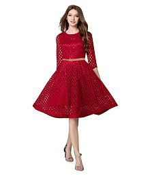 Aika Maroon Lace Dresses