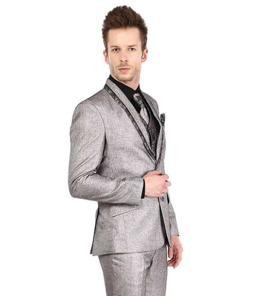 Platinum Studio Grey Self Design Party 3 Piece Suits - Buy Platinum ... 84674e0f2bfc