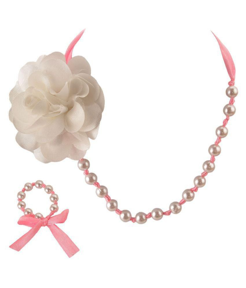 CrayonFlakes Pink Necklace & Bracelet Set with Ribbon for Girls