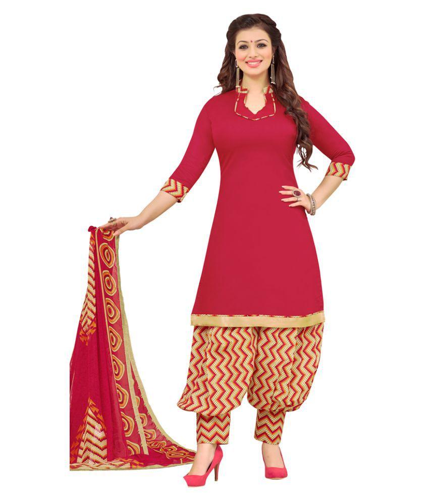 Varayu Pink Cotton Dress Material