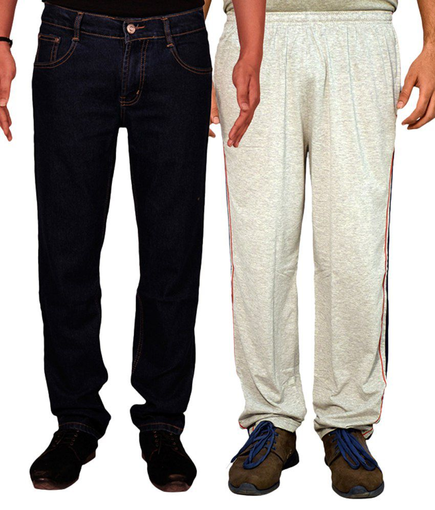 Van Galis Navy Blue Regular Fit Solid Jeans with Trackpant