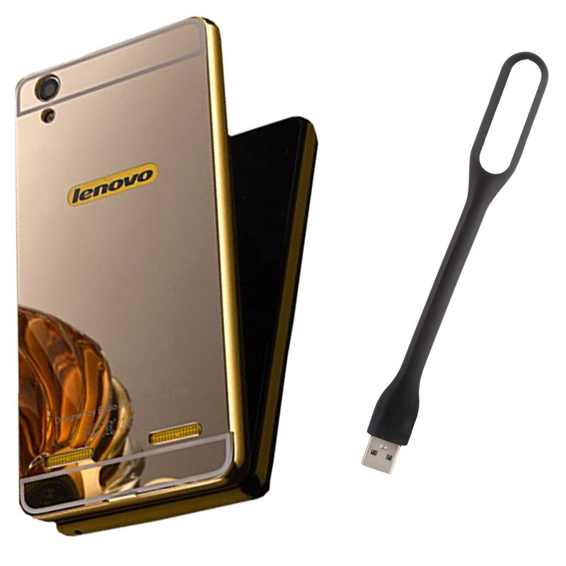 Mirror Back Cover For Lenovo A6000 + Usb Light free by Style Crome.