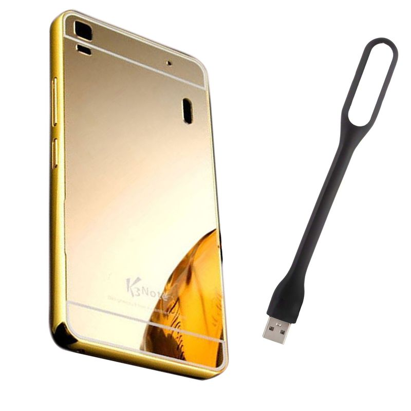 Mirror Back Cover For Lenovo A7000 + Usb Light free by Style Crome.