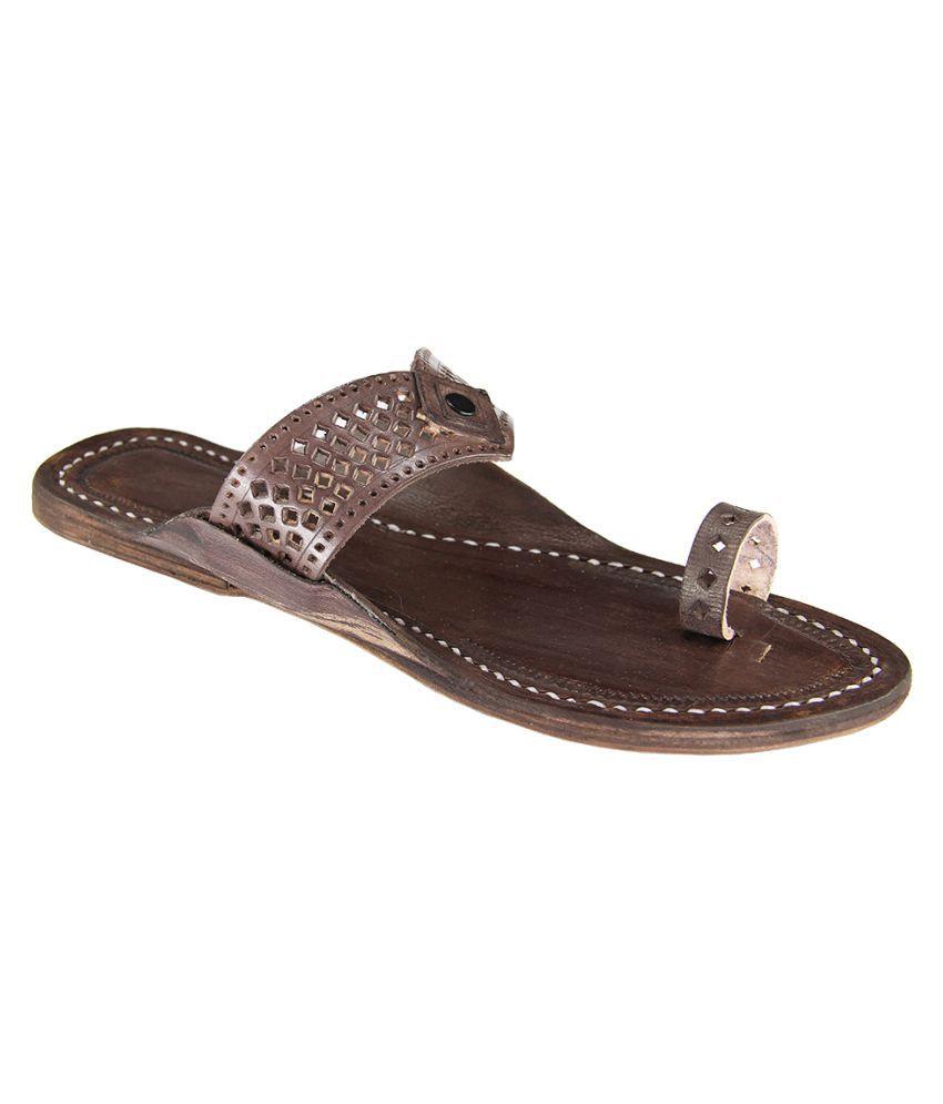 eKolhapuri Brown Flat Ethnic Footwear