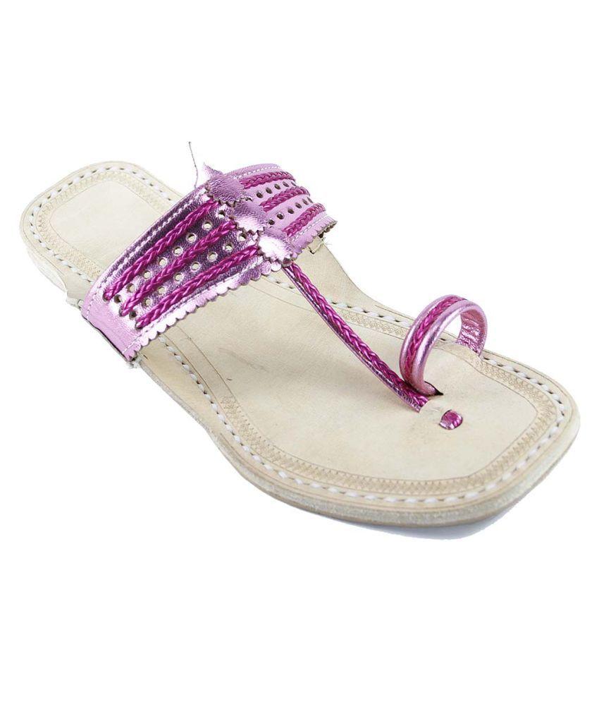 eKolhapuri Pink Flat Ethnic Footwear