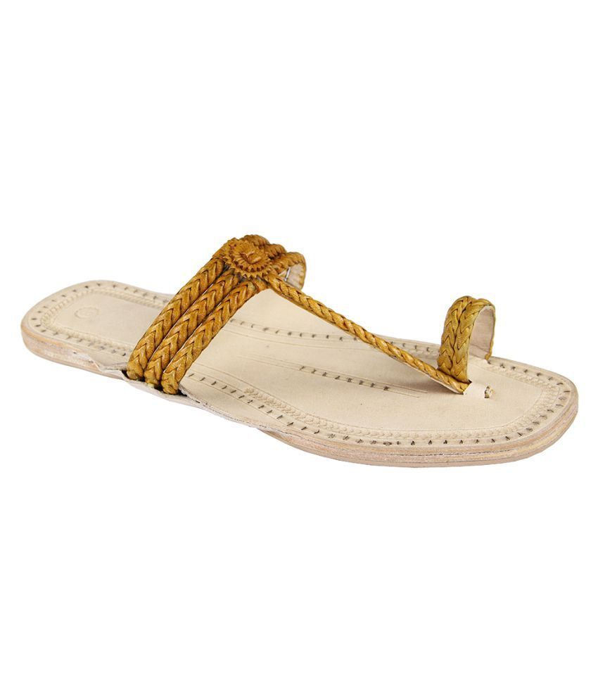 eKolhapuri Yellow Flat Ethnic Footwear