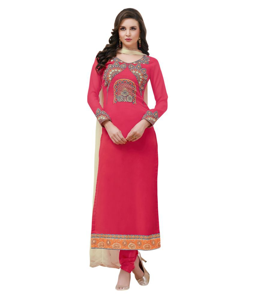 Swaron Red and Pink Georgette Dress Material