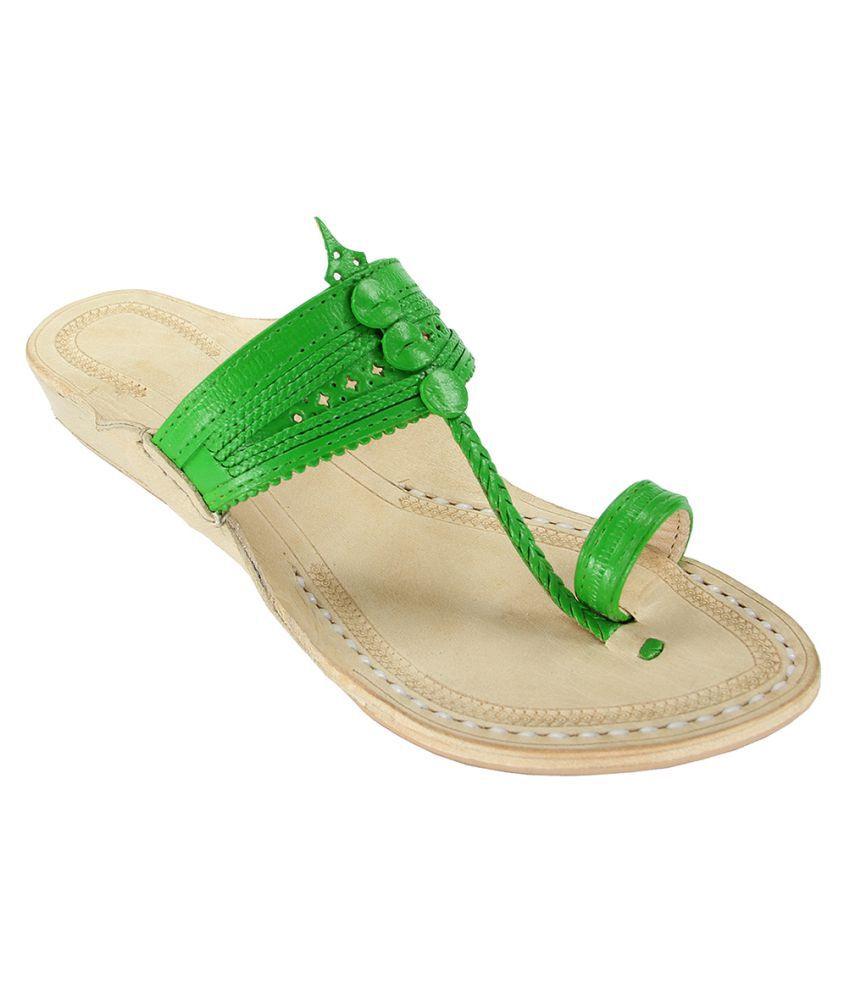 eKolhapuri Green Wedges Ethnic Footwear