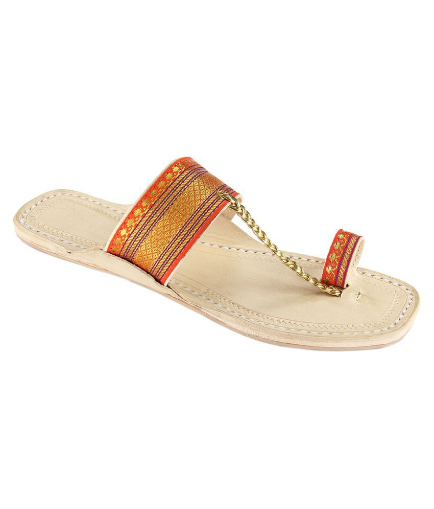 eKolhapuri Red Flat Ethnic Footwear