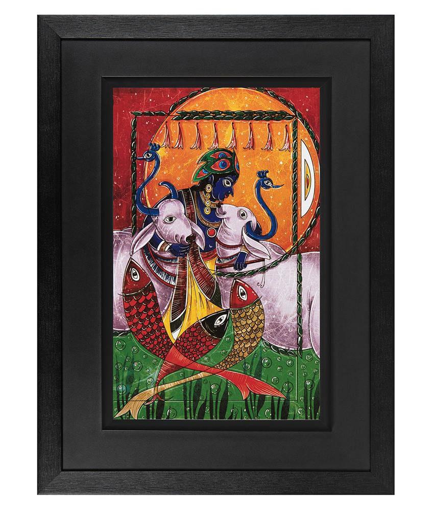 JAF Shree Krishna Wood Art Prints With Double Frame Single Piece