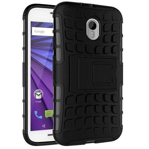 WOW Imagine Defender Tough Hybrid Armour Shockproof Hard PC + TPU with Kick Stand Rugged Back Case for MOTOROLA MOTO G3 / G TURBO