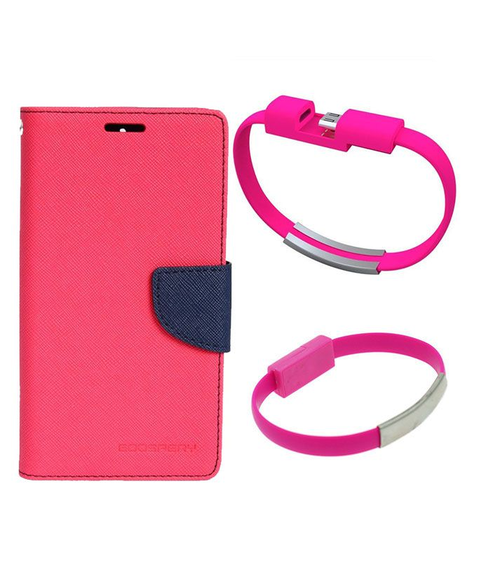 Wallet Flip Case Back Cover For Samsung A5-(Pink)+USB Bracelet Cable Charging for all smart phones by Style Crome.