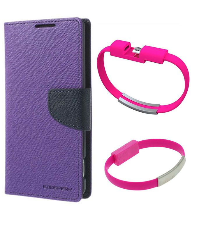 Wallet Flip Case Back Cover For Samsung J5-(Purple)+USB Bracelet Cable Charging for all smart phones by Style Crome.