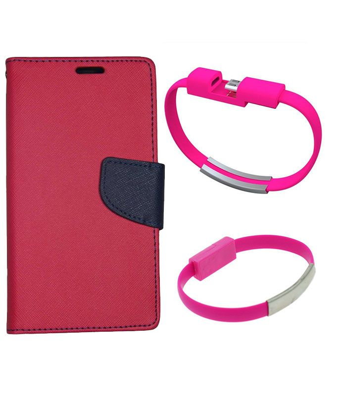 Wallet Flip Case Back Cover For Micromax A310-(Red)+USB Bracelet Cable Charging for all smart phones by Style Crome.