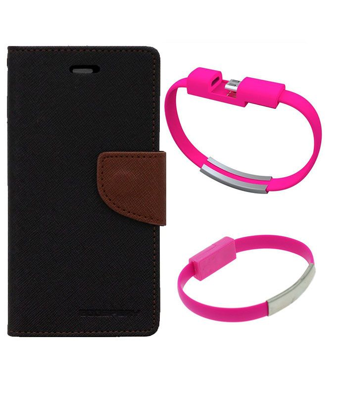 Wallet Flip Case Back Cover For Micromax A120-(Blackbrown)+USB Bracelet Cable Charging for all smart phones by Style Crome.