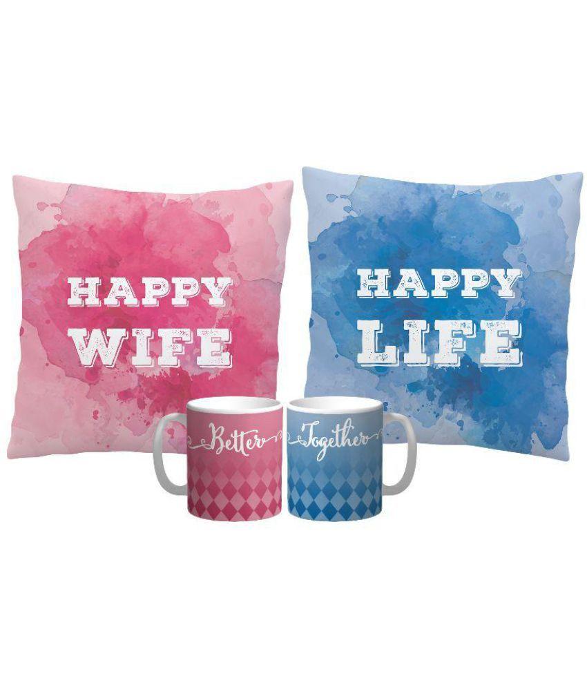 Mysocialtab Set of 2 Blue Cotton Filled Cushion