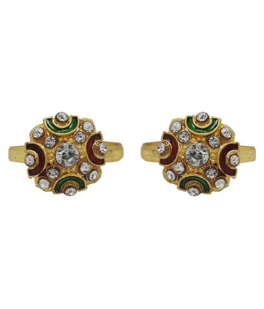 Raj American Diamond Studded Golden Toe Ring