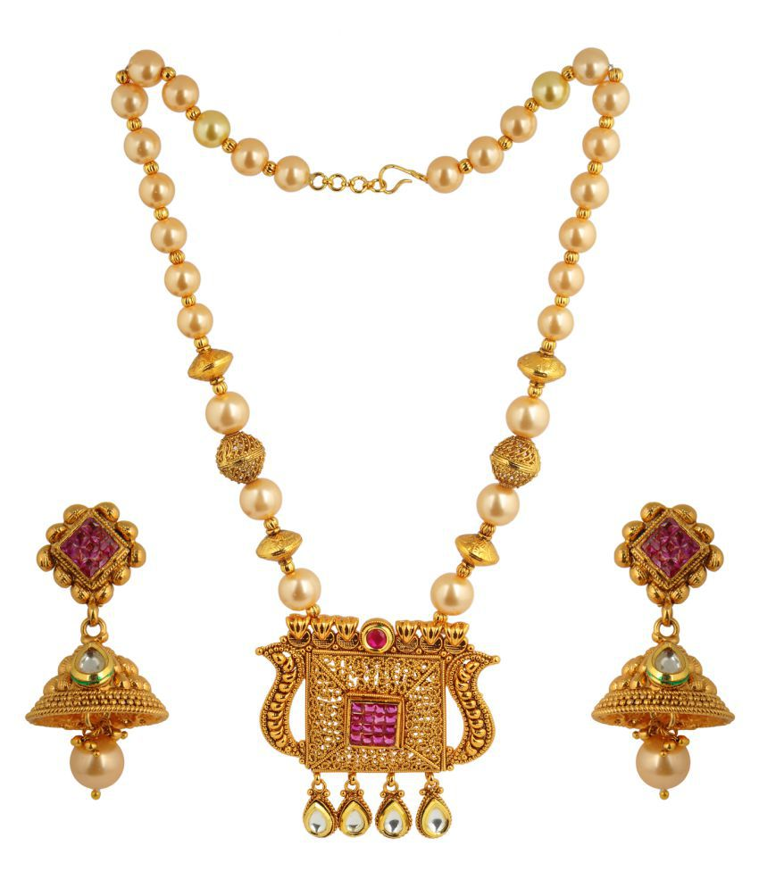 KRS Jewels 22k plain Gold Polki long Pendant Set With Jhumka