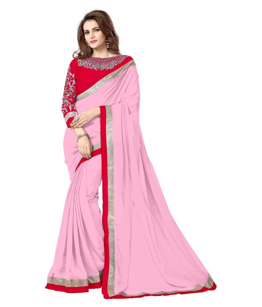 Onlinefayda Pink Chiffon Saree