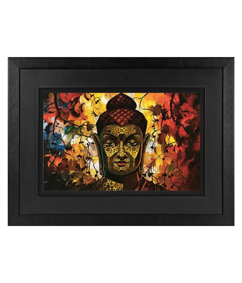 JAF Wood Buddha Art Prints With Frame Single Piece